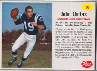 1962 Post Cereal NFL Football set
