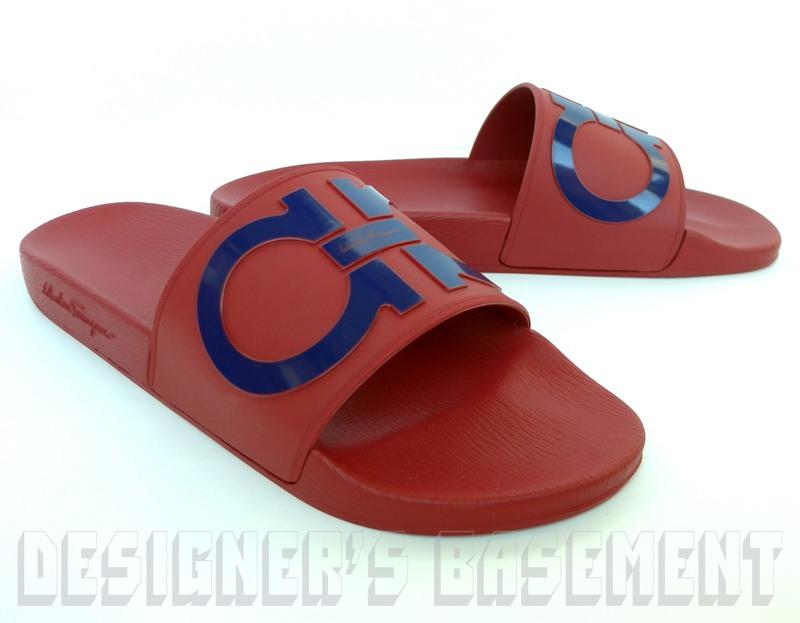 f02fdff09df0 SALVATORE FERRAGAMO men s 10M red   blue GROOVE slides FLIP-FLOPS shoes NIB  Authentic!