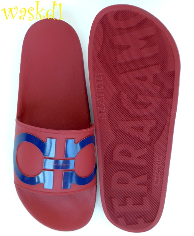 594317b87da6 Authentic SALVATORE FERRAGAMO Mens fabulous synthetic red GROOVE 2 with  large blue Double Gancini logo on the top flip flop slides in size 10M  (insole 11 ...