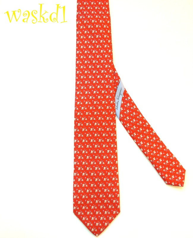 a4aa49c49d1a SALVATORE FERRAGAMO red Elephant FATHER & SON playing GOLF silk MENS tie  NWT Authentic!