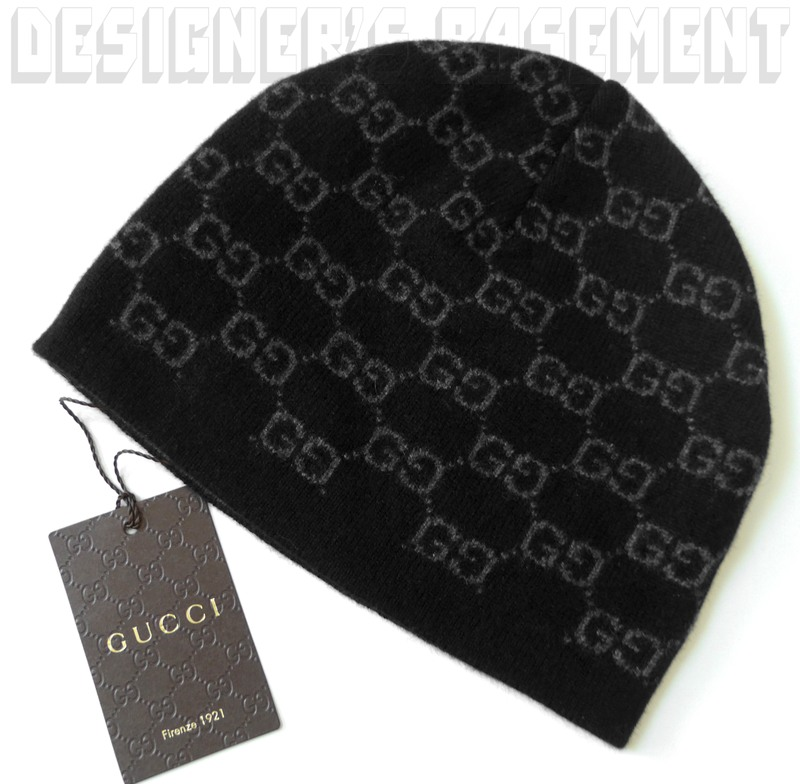 c0959c61219 Details about GUCCI black   charcoal GG 100% Cashmere knit BEANIE Skully hat  NWT Auth ONE SIZE