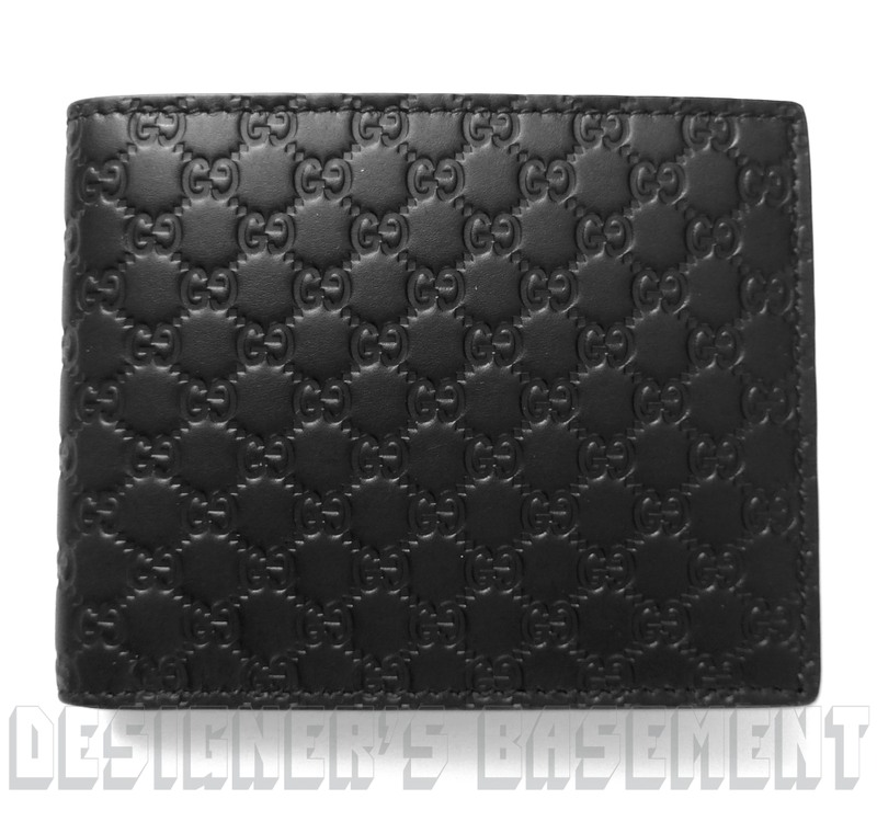 a1c96ced668b GUCCI Mens black Leather MICRO GUCCISSIMA GG embossed Bifold wallet NIB  Authentic!