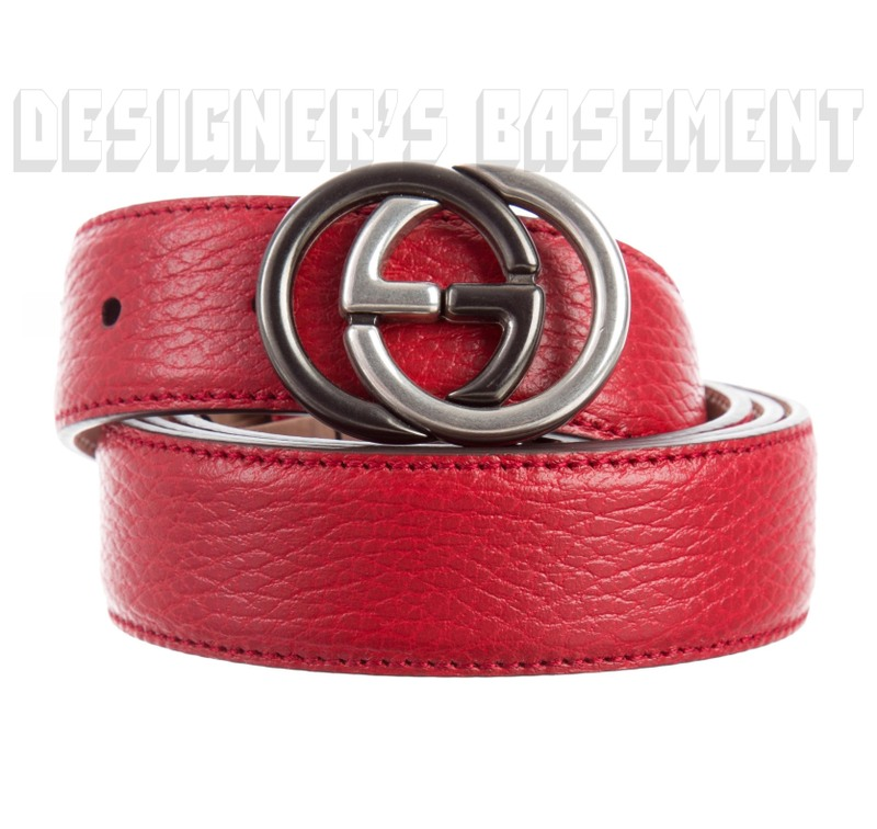 88f780238e GUCCI red pebble leather 42-105 2-tone metal INTERLOCKING G buckle Slim belt  NWT Authentic!