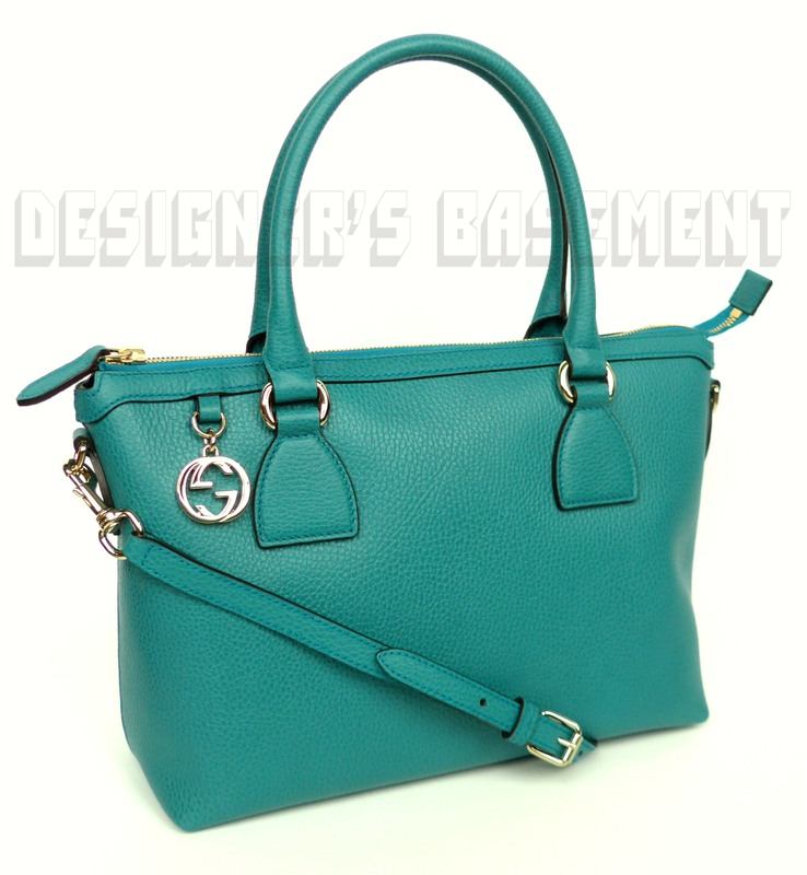 GUCCI teal leather gold GG CHARM convertible MEDIUM TOTE cross-body bag NWT  Authentic! bfb487f95424