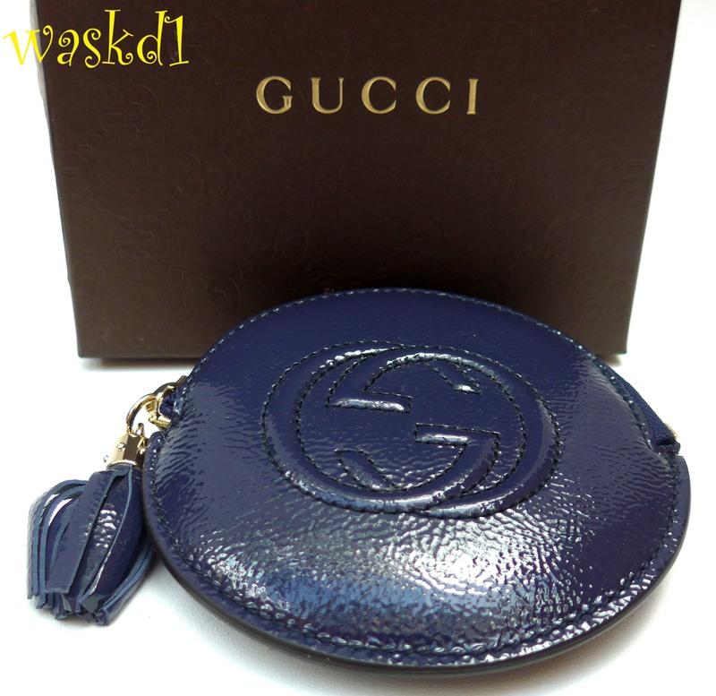 f583b39e8e3731 GUCCI blue Patent Leather SOHO Interlocking G zip pouch COIN Purse NIB  Authentic!