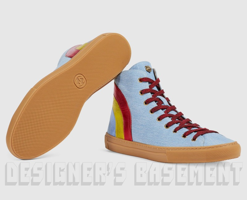 388bafdba73 100% Authentic GUCCI Mens fabulous light blue denim with metallic leather  rainbow on the back and Angry Cat charm on the tongue lace-up high-top  sneakers in ...
