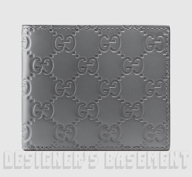 73f6baba73a4 GUCCI Mens steel Gray leather GUCCISSIMA embossed Bifold wallet NIB  Authentic $350!