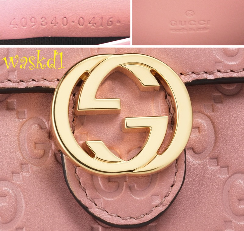 10abf3cf10d Authentic GUCCI Outlet fabulous instantly recognizable pink GUCCISSIMA  leather INTERLOCKING G snap flap MINI chain strap cross-body bag wallet.