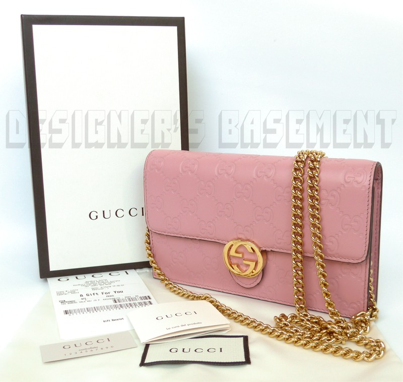 dccfe691741 Gucci Pink Guccissima Leather Interlocking G Mini Chain Bag Wallet