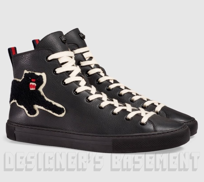 a4c7446670e GUCCI 8.5G black leather PANTHER Angry Cat MAJOR high top Sneakers NIB  Authentic  695!