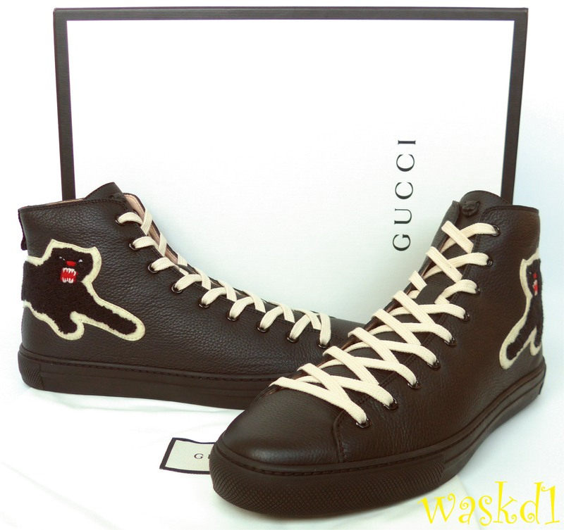 6db4a3b997b 100% Authentic GUCCI Mens fabulous black buttery soft leather with wooly  appliqued panther on the back and Angry Cat charm on the tongue lace-up  high-top ...