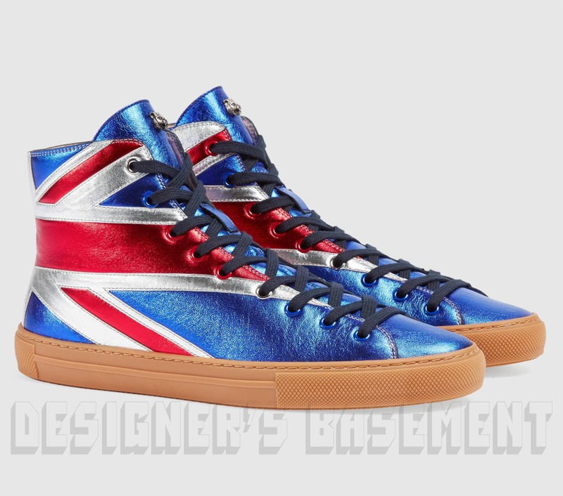 ea21b2d6ac7 GUCCI 8.5G metallic UNION JACK Angry Cat MAJOR high top Sneakers NIB  Authentic  730!