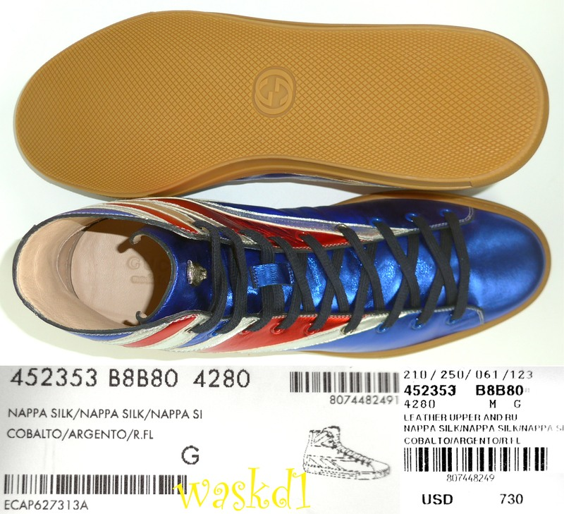 52d5bf30793 100% Authentic GUCCI Mens fabulous metallic leather in British Flag pattern  with Angry Cat charm on the tongue lace-up high-top sneakers in size 8.5 G  ...