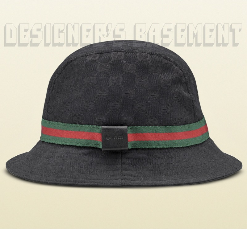 Authentic GUCCI  320 black-on-black GG printed canvas with green-red-green  ribbon and trademark logo leather patch detail fedora hat in size Large  (22