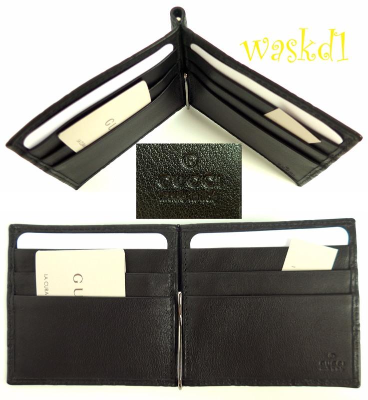 ff2aaa02b78638 GUCCI Mens black GUCCISSIMA leather MONEY CLIP bifold wallet NIB Authentic  $320! | eBay