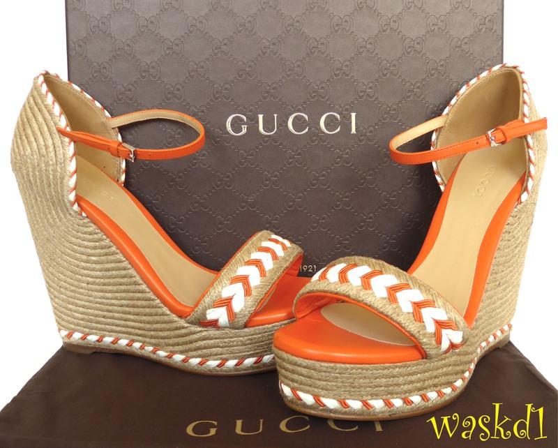 46c64e45c1c Details about GUCCI orange 38.5 leather trim TIFFANY platform Espadrille  WEDGE shoes NIB Auth