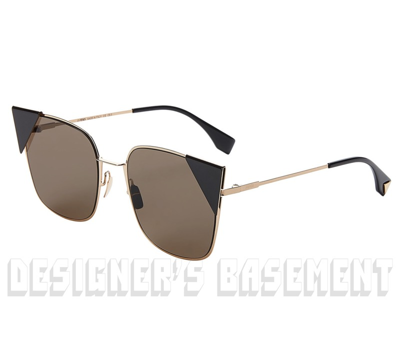 7acff05a0 FENDI black tips LEI Gold-tone metal Cat Eye FF0191S Sunglasses NWT  Authentic $550!