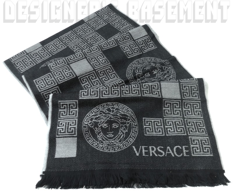 ebca2f83e Details about VERSACE black & gray 100% Wool PATCHWORK MEDUSA fringed long  scarf NWT Authentic