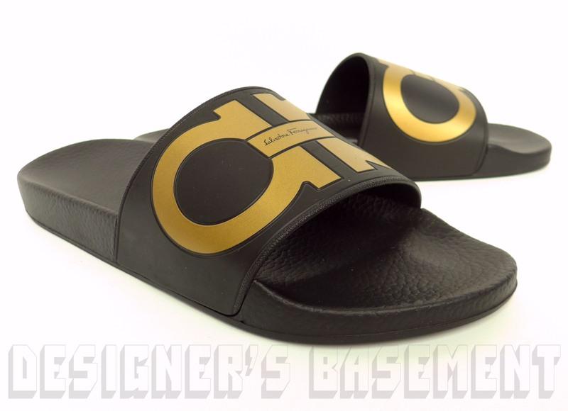 3073076ded2b SALVATORE FERRAGAMO men s 7M black gold GROOVE slides FLIP-FLOPS shoes NIB  Authentic!