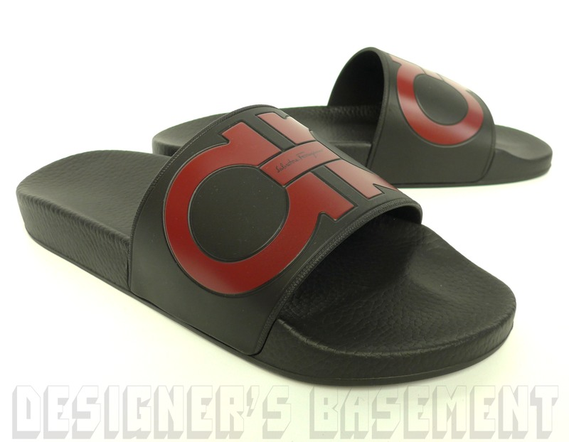 df273e5bfdb47e SALVATORE FERRAGAMO men s 7M black   red GROOVE slides FLIP-FLOPS shoes NIB  Authentic!