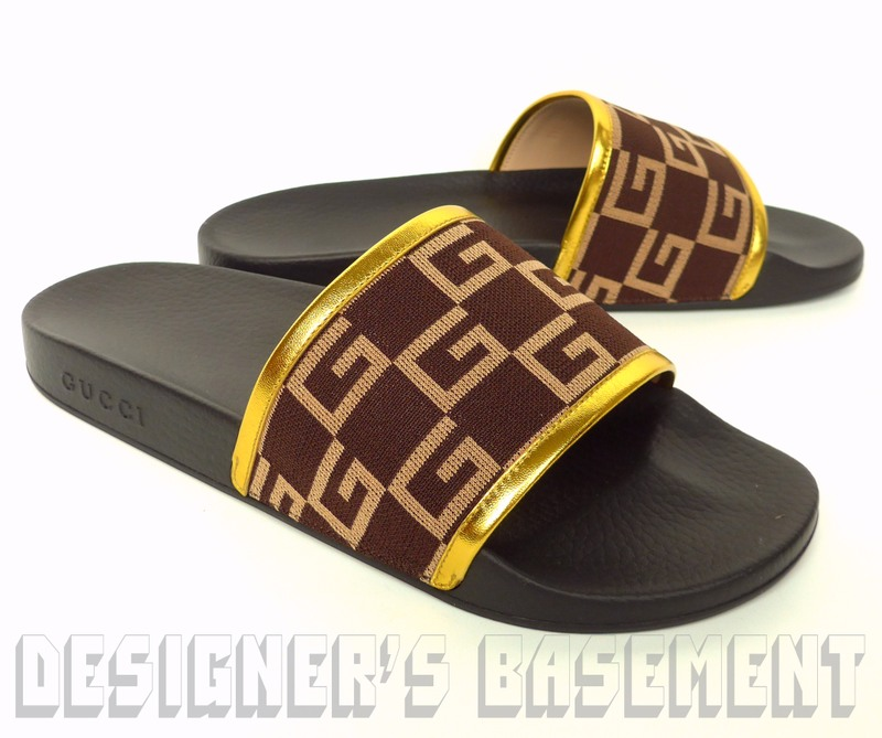 3d5fbcd17e8a GUCCI mens 8G  brown GG CUBE Jersey PURSUIT slides FLIP-FLOPS shoes NIB  Authentic 370!