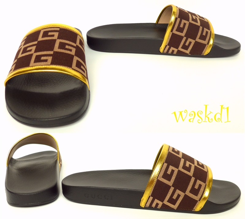 00e6c4fb2cdc Authentic GUCCI Mens fabulous chocolate GG CUBE jersey PURSUIT flip flop  slides in size 8G (insole 10 3 4