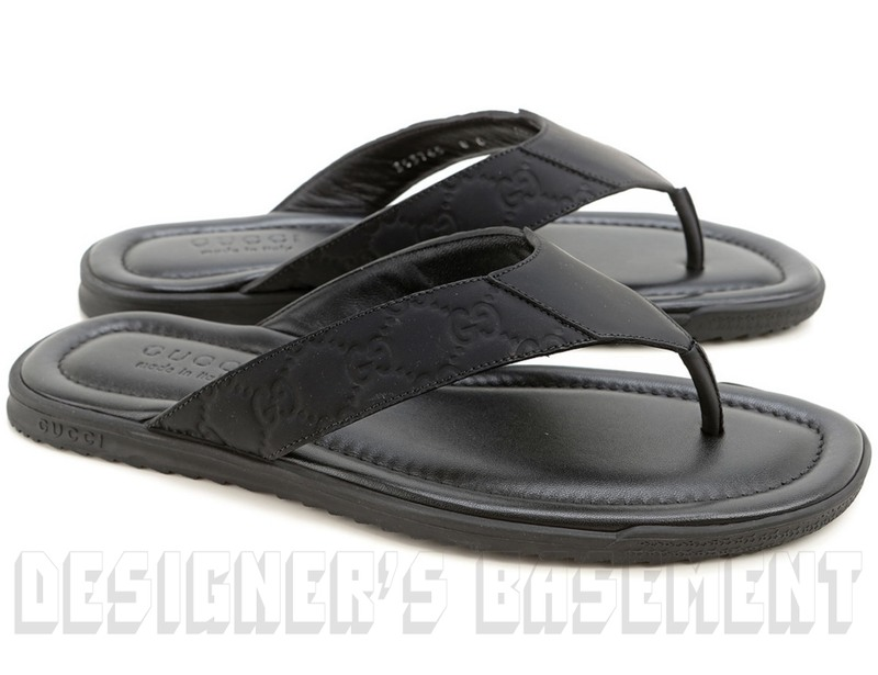 279e5b5958a GUCCI mens 7.5G  black GUCCISSIMA rubberized Leather SL73 BEACH flip-flops  Thong sandals NIB Authentic  350!