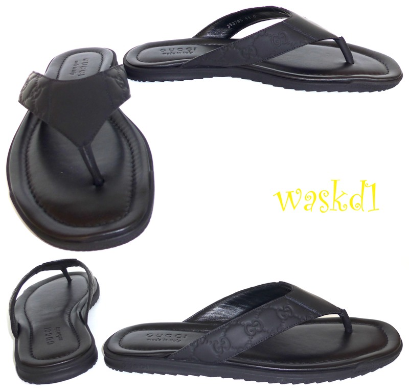 b7e643b66 GUCCI mens 7.5G  black GUCCISSIMA rubberized Leather SL73 BEACH flip-flops  Thong sandals NIB Authentic  350!