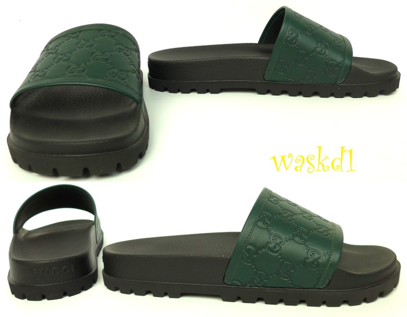 GUCCI mens 9G green GUCCISSIMA Leather slides sandals FLIP ...