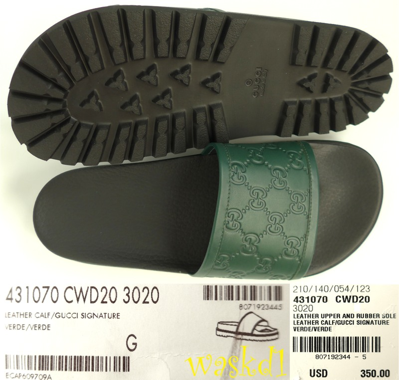 72d4625982c6 Authentic GUCCI Mens fabulous green Guccissima embossed leather flip flop  slides in size 11G (insole 11 1 2